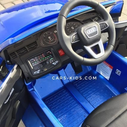 Электромобиль Audi Q7 S-line синий (резиновые колеса, кожа, пульт, музыка, глянцевая покраска)