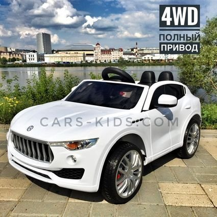 Электромобиль Maserati белый (полный привод, усиленный аккумулятор, резиновые колеса, кожа, ГЛЯНЦЕВАЯ ПОКРАСКА)