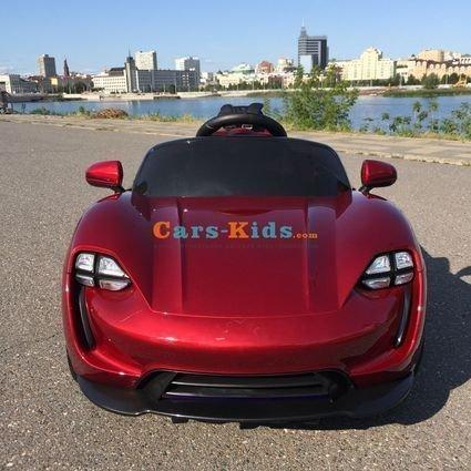 Электромобиль Porsche Sport М777МР красный (резиновые колеса, кожа, пульт, музыка, ГЛЯНЦЕВАЯ ПОКРАСКА)