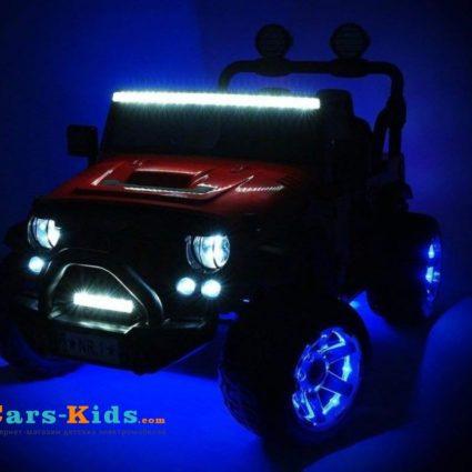 Электромобиль Jeep Wrangler Red 4WD - SX1718-A (кресло кожа , колеса резина, пульт, музыка)